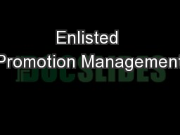 Enlisted Promotion Management