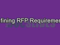 Defining RFP Requirements