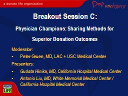 Moderator: Peter  Gruen , MD, LAC   USC Medical Center