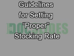Guidelines for Setting �Proper� Stocking Rate