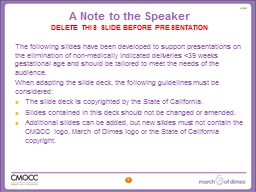 A Note to the Speaker  DELETE THIS SLIDE BEFORE PRESENTATION