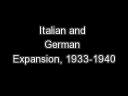 Italian and German Expansion, 1933-1940