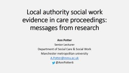 Local authority social work evidence in care proceedings: messages from research