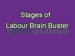 Stages of  Labour Brain Buster