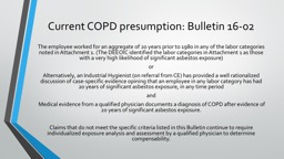 Current COPD presumption