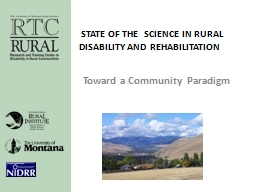 State of the  Science in Rural Disability and