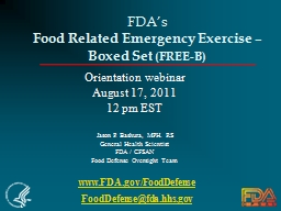 FDA's  Food Related Emergency Exercise –