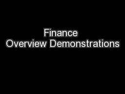 Finance Overview Demonstrations