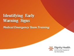 Identifying Early Warning Signs