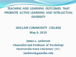TEACHING AND LEARNING OUTCOMES THAT PROMOTE ACTIVE LEARNING AND INTELLECTUAL DIVERSITY
