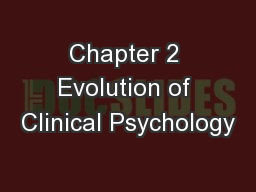 Chapter 2 Evolution of Clinical Psychology
