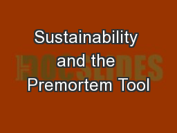 Sustainability and the Premortem Tool