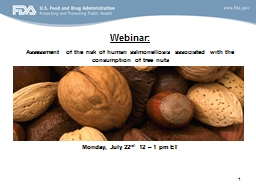 1 Webinar:  Assessment of the risk of human salmonellosis associated with the consumption of tree