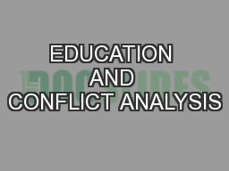 EDUCATION AND CONFLICT ANALYSIS