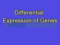 Differential Expression of Genes