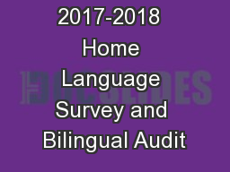 2017-2018  Home Language Survey and Bilingual Audit