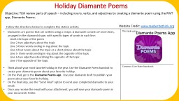 Holiday Diamante Poems Objective