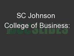 SC Johnson College of Business: