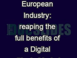 1   Digitising European Industry: reaping the full benefits of a Digital Single Market