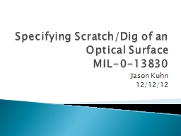 Specifying Scratch/Dig of an Optical Surface