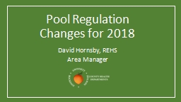 Pool Regulation Changes for 2018