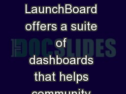 LaunchBoard Demo The LaunchBoard offers a suite of dashboards that helps community colleges track p