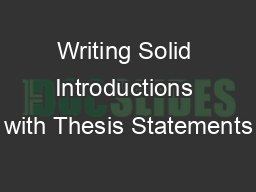 Writing Solid Introductions with Thesis Statements