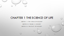 Chapter 1 The science of Life PowerPoint PPT Presentation