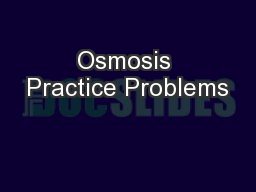 Osmosis Practice Problems