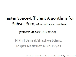 Faster  Space-Efficient PowerPoint PPT Presentation