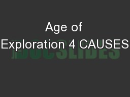 Age of Exploration 4 CAUSES