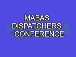 MABAS DISPATCHERS  CONFERENCE