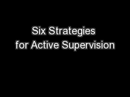 Six Strategies for Active Supervision