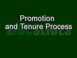 Promotion and Tenure Process