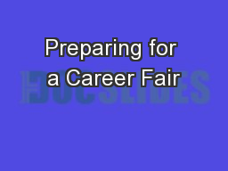 Preparing for a Career Fair