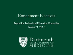 Enrichment Electives Report for the Medical Education Committee
