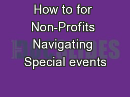 How to for Non-Profits Navigating Special events