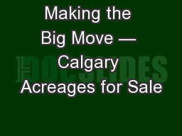 Making the Big Move — Calgary Acreages for Sale