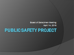Public Safety Project Board of Selectmen Meeting