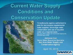 Current  Water Supply Conditions