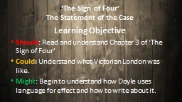 'The Sign of Four' The Statement of the Case
