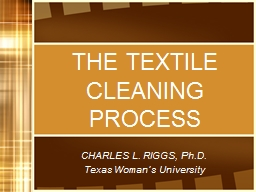 THE TEXTILE CLEANING PROCESS PowerPoint PPT Presentation
