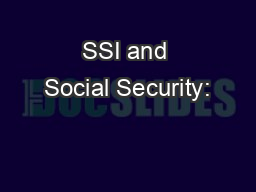 SSI and Social Security: