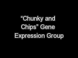 """Chunky and Chips"" Gene Expression Group PowerPoint PPT Presentation"
