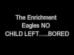 The Enrichment Eagles NO CHILD LEFT…..BORED