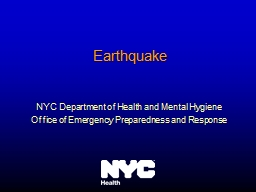 Earthquake NYC Department of Health and Mental Hygiene PowerPoint PPT Presentation