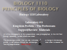 Biology 1110 Principles of Biology