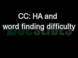 CC: HA and word finding difficulty