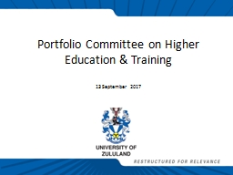 Portfolio Committee on Higher Education & Training