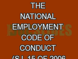 UNPACKING THE NATIONAL EMPLOYMENT CODE OF CONDUCT (S.I. 15 OF 2006